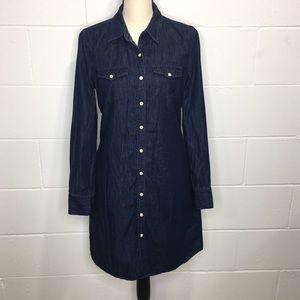 GAP Denim Jean Dark Wash Shirt Dress Snap Small